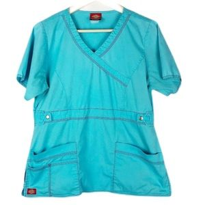 Dickies Blue Scrub Top Size Small